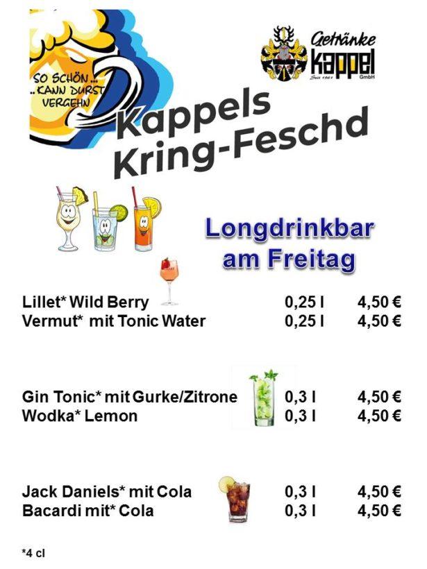 Preisliste Bar