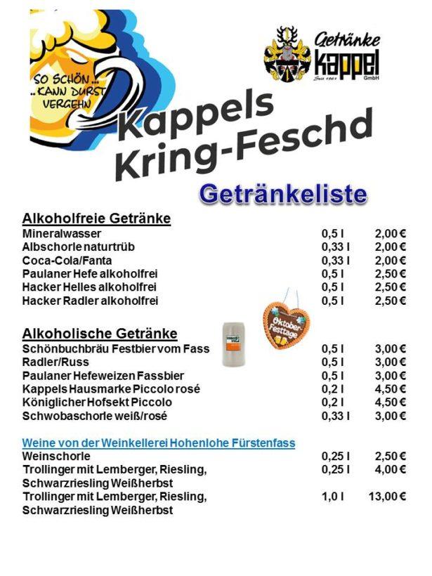 Preisliste Getränke